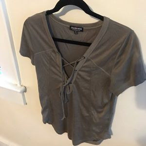 Lace up army green top